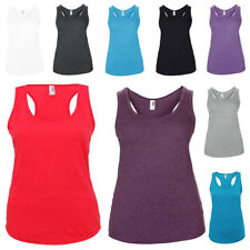 New Womens Anvil Tri-blend Bound Racerback Tank Semi-fitted Shirt Top Size 8-18