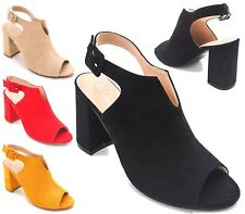c13a12df9cd NEW LADIES HIGH BLOCK HEEL SLINGBACK BUCKLE PARTY FAUX SUEDE SANDALS SHOES  SIZE