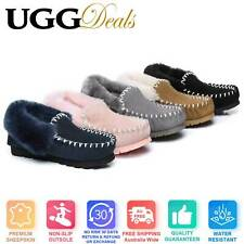 UGG AS Unisex POPO MOCCASIN AU Sheepskin Slippers Double Sole Non-Slip