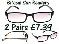 2 PAIRS Bendable Super-Lite Bifocal Tinted TR90 Reading Glasses SALE sale! TN36