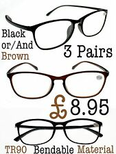3 Pairs Mix N Match Retro Bendable TR90 Material Unisex Reading Glasses TN31