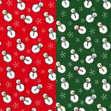 Polycotton Fabric Christmas Snowmen Star Snowflake Xmas Craft Material