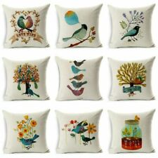Decor Cotton Cushion Linen Case  Home Throw Bird Pillow Sofa Decor Cover