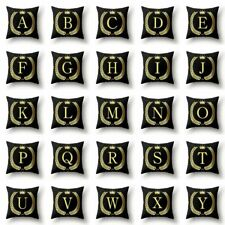 26 A-Z Letter Black Cushion Cover Linen Waist Throw Pillow Case Sofa Home Decor