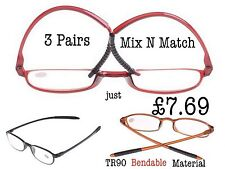 3 pairs Bendable Super-Lite TR90 Material Reading Glasses+1.0+1.5+2.0+2.5 RG44