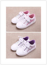 Girls Kids Canvas Shiny Pattern Pumps Casual Shoes Lace Up Flat Walk Trainers