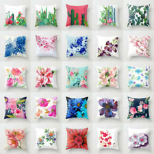 "18""Cotton Linen Flower Pillow Case Sofa Car Throw Waist Cushion Cover Home Decor"