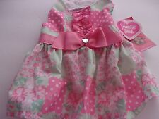 Pink Floral PATCHWORK Ruffle Dog Dress XXS XS Smoochie Pooch new pet Petco pup
