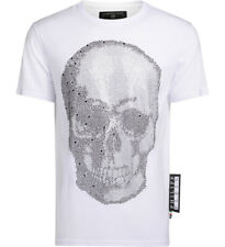 f48e605512 Philipp Plein Platinum Cut white t-shirt with rhinestones skull logo
