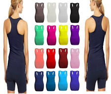 New Ladies Womens Long Racer Back Bodycon Muscle Vest Top Gym Top All Plus Sizes