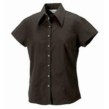 Womens Russell Collection Cap Sleeve Tencel Fitted Button Down Polo Shirt XS-2XL
