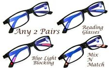 2 PAIRS Blue Light Blocking TR90 Gaming Computer Unisex Reading Glasses RG9ABL