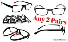 2 PAIRS Reading Glasses TR90 Bendable Durable Material 4 Colour Designs RG9