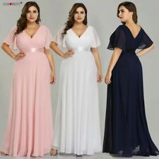 Plus Size Pink Prom Dress Long V-Neck Chiffon A-line Navy Blue Formal Party Gown