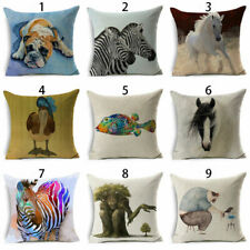 "Art Painting Cushion Throw Cover Case Pillow Decor Sofa 18""Oil Linen Home Cotton"