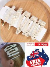 Women Girl Pearl Hair Clip Snap Barrette Stick Pin Hair Accessories Party 1pc