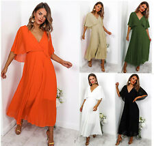 Womens 3/4 Sleeve Wrap V Neck Plunge Pleated Frill Ladies Long Maxi Party Dress