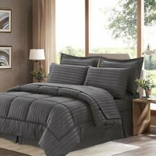 Sweet Home Collection 8 Piece Bed In A Bag with Dobby Stripe Comforter, Sheet Se