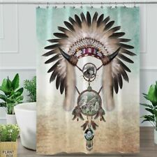 Wolf Shower Curtain Dreamcatcher Waterproof Bath Curtain With Hooks Indian Feath