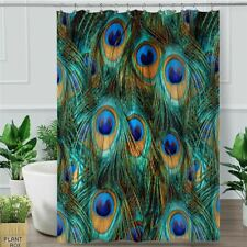 Peacock Feather Shower Curtain Bird Waterproof Bath Curtain With Hooks Polyester