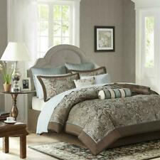 Madison Park Aubrey King Size Bed Comforter Set Bed In A Bag - Blue, Brown , Pai