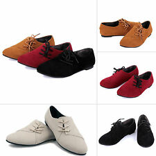 Womens Fashion Nubuck Leather Flats Loafers Lace Up Ballerina Ballet Pumps Shoes