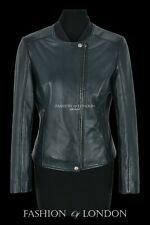 Women's Real Leather Jacket Navy Perforated Classic Fashion Biker Style 1940