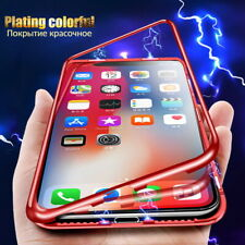 For iPhone XS Max XR 8 7 6s Plus XS Tempered Glass Back 360° Magnetic Case Cover