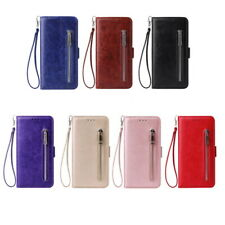 For iPhone XS Max XR X 8 7 6s Plus Leather Flip Cover Zip Card Pocket Stand Case