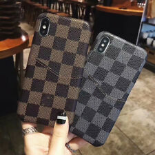 Luxury Pattern Grid Leather Back Case Cover  For iPhone XS Max XR 6 7 8 Plus LV8
