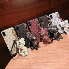 Lovely Bear Leather Lanyard Phone Case Cover For iPhone 678 Plus X XS Max XR LV9