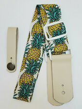 Ukulele strap: pineapple, tiki, neon, moon/star music notes + headstock adapter