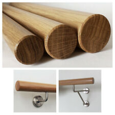 Round Handrail Set 45 mm x 1000 mm Long Varnished Oak Wood Including Brass End Cap and 2 Holders