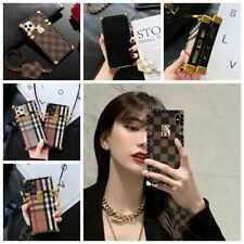 Luxury Metal Grid Plaid Leather Strap Soft Case Cover iPhone 11 Pro Max 7 8 Plus