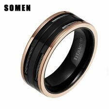 8MM Polished Rose Gold Edge Black Titanium Ring With Stainless Steel Cables For
