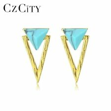 CZCITY New 925 Sterling Silver Double Triangle Design Turquoise Stud Earrings