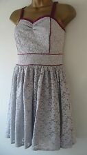 BNWT Pale Grey Lace Boned Dress Purple Piping 10,12,14 PETITE