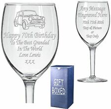 Engraved Wine Glass - Boxed 70th - 75th - 80th  Birthday Gift - Present
