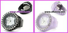 HELLO KITTY OROLOGIO ANELLO nero-viola STRASS DONNA MODA FASHION ELEGANTE SANRIO