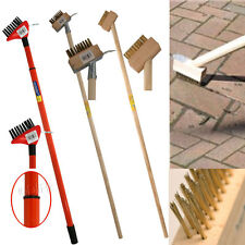 2 IN 1 HARDWOOD WIRE PATIO BRUSH DECK BLOCK PAVING WEED GARDEN SCRAPER WITH HOOK