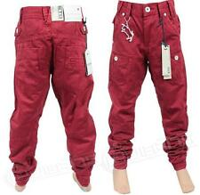 BOYS NEW ETO EB259 DESIGNER CUFFED RED CHINO JEANS. SIZES 25-29. *BARGAIN PRICE*