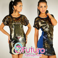 "Womens Sexy Party Tunic ""TIGER"" Sequins Mini Dress Blouse Top Size 8-12 HQ RO07"