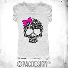 T-SHIRT DONNA TATTOO OLD SCHOOL  RIBBON CHIC SKULL  MY WHY SO HAPPINESS NE0046A