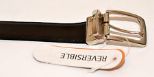 "New Leather Black and Brown Reversable Belt 32"" to 48"" Chrome Buckle"
