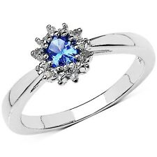 STERLING SILVER TANZANITE & DIAMOND CLUSTER ENGAGEMENT RING IN SIZES H - W