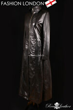 'CRYSTAL' Ladies Black GOTHIC RED LINING Leather Full Length Long Coat Jacket