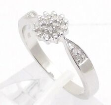 STERLING SILVER 0.15CT DIAMOND CLUSTER ENGAGEMENT RING SIZE ILMNPQRST