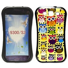 YELLOW CASE WITH MULTICOLOR OWL PRINT GEL HARD CASE FOR SAMSUNG GALAXY S3 i9300