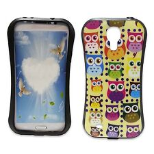 YELLOW CASE WITH MULTICOLOR OWL PRINT GEL HARDCASE FOR SAMSUNG GALAXY S4 I9500