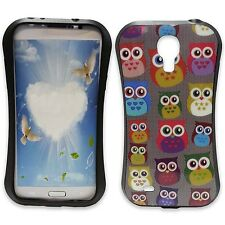 GREY CASE WITH MULTICOLOR OWL PRINT GEL HARD CASE FOR SAMSUNG GALAXY S4 i9500